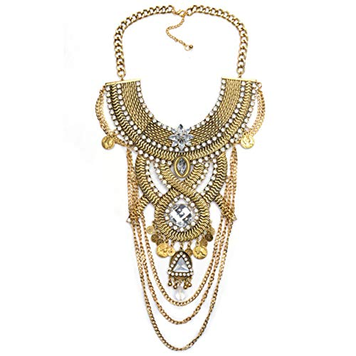 Lanue Womens Ethnic Tribal Boho Beads Coin Tassels Chain Necklaces Long Belly Dance Bohemian Jewelry (Gold)]()