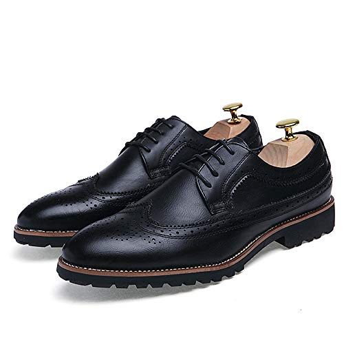 Classic da da Scarpe Oxford Casual Business Men's Intaglio Nero Antiscivolo Scarpe Cricket Comode HqvOt0x