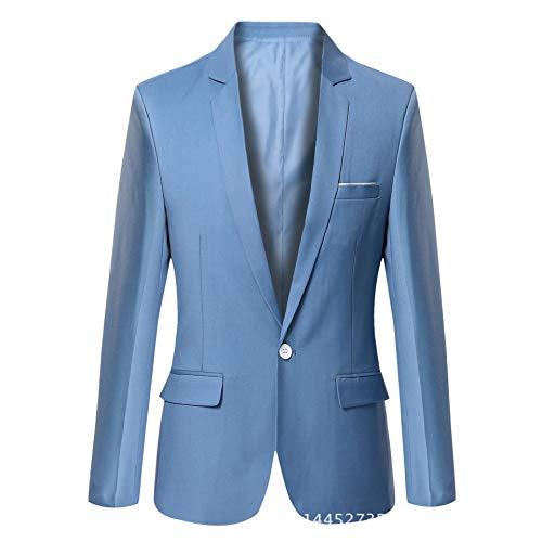 Mfasica Men Business Pure Colour Bodycon Oversize Leisure Suit Blazer 3 2XL by Mfasica