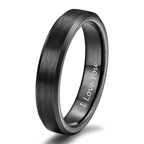 Shuremaster I Love You Rings for Men Women Tungsten Carbide Wedding Band Black Thin Brush Beveled Edge Comfort Fit Size 4.5