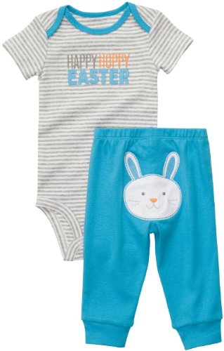Carter's Boys 2 Piece Blue Grey & White Easter Bodysuit Pant Set Happy Hoppy Easter (18 Months)
