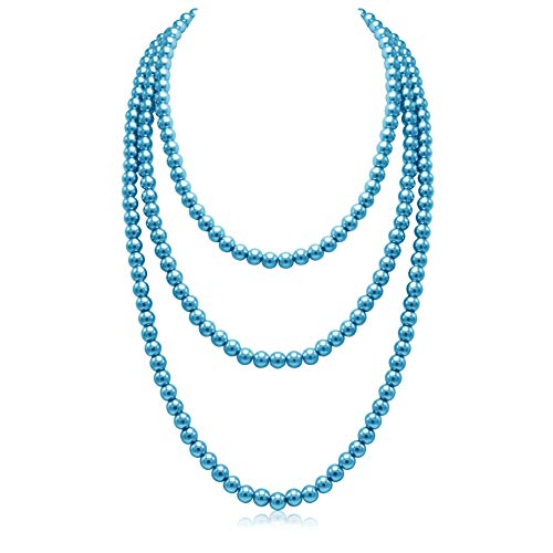 So Pretty Turquoise Blue Long Faux Pearl Necklace for Women Layered Pearls Strand Neckalce Costume Jewelry, 69