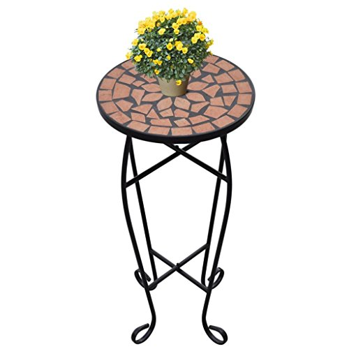 "Tidyard 11.8"" Mosaic Side Table Plant/Accent Table Rack Holder Decor Potted Containers Shelf Display with Weatherproof Top & Curved Legs for Home Patio Garden Indoor & Outdoor Terracotta"