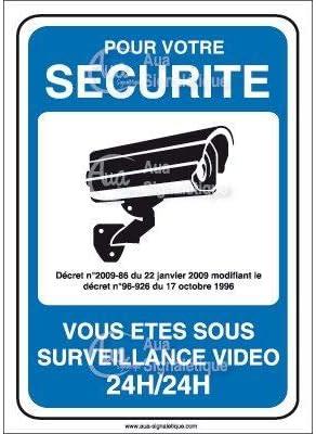 AUA SIGNALETIQUE 160x60 mm PVC 1.5mm Panneau Vid/éo Surveillance 24h//24-02