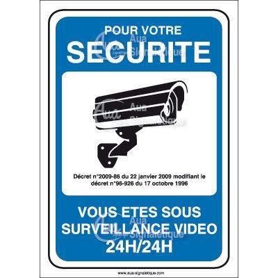 Panneau pour Votre s/écurit/é Surveillance vid/éo 24h//24-75x105 mm Vinyl adh/ésif AUA SIGNALETIQUE