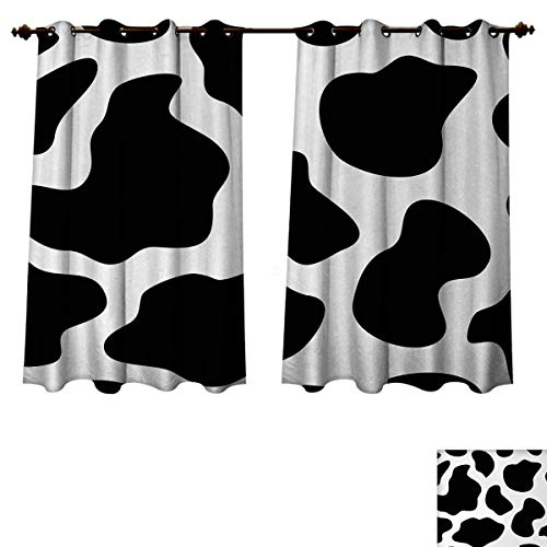 Anzhouqux Cow Print Blackout Thermal Backed Curtains for Living Room Hide of a Cow with Black Spots Abstract and Plain Style Barnyard Life Print Customized Curtains Black White W72 x L63 inch