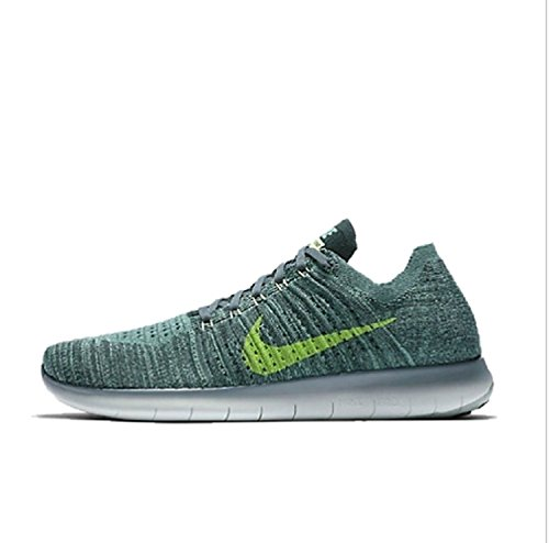 NIKE Mens Free Run Flyknit Running Shoes, Seaweed Green, 14 D (M) US