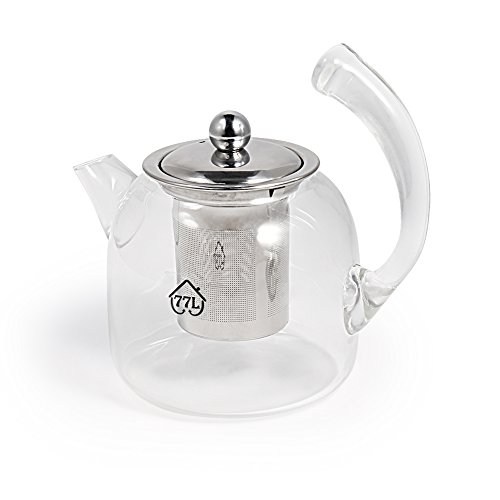 Glass Tea Pot, [Thickening, Isolating Handle], 77L Borosilicate Glass Teapot with Stainless Steel Pot Lid and Tea Infuser, Apply to Coffee, Tea, etc. Glass Tea Pot for Home and Office, 22 OZ (650ml) (Ounce Small Teapot 22)