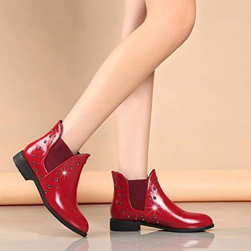Femmes Bottes Cuir Chaud Bottines Garder Au Rivets Martin Femmes en Bottines Chaussures BaZhaHei Casual Plates Rouge Boot P7EwxZq