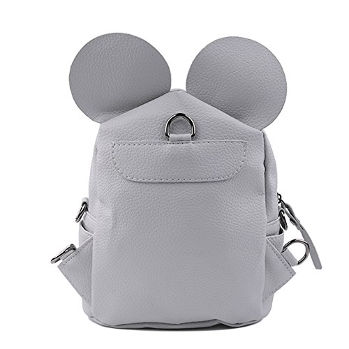 School Cute Backpack Double Mickey PU Travel Girl Bag Leather Fashion Bag Mini Backpack Shoulder Satchel Grey OwXOxrq