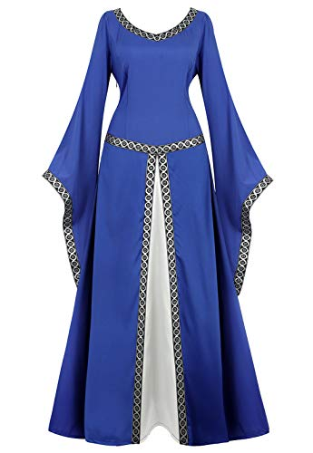Womens Irish Medieval Dress Renaissance Costume Retro Gown Cosplay Costumes Fancy Long Dress Light -