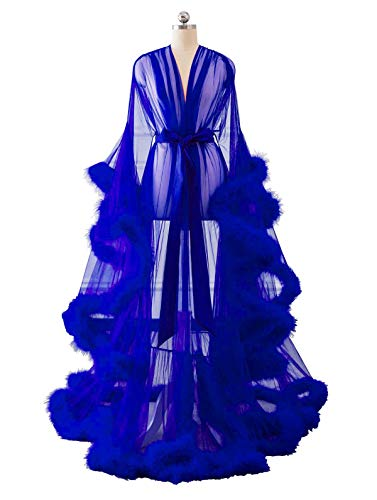 Changuan Sexy Feather Bridal Robe Tulle Illusion Long Wedding Scarf New Custom Made Royal Blue S/M -