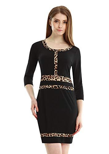 文字じゃがいもメディアCcoco VessosレディースファッションレオパードOネックパーティーOLミニドレスドレス画像-M