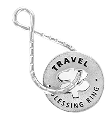 "Travel ""Have A Safe Trip"" Reversible Blessing Ring Keychain"