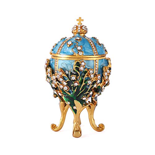 QIFU Faberge Egg Series Hand Painted Jewelry Trinket Box with Rich Enamel and Sparkling Rhinestones | Unique Gift Home Decor | Best Easter Day Collectible ()