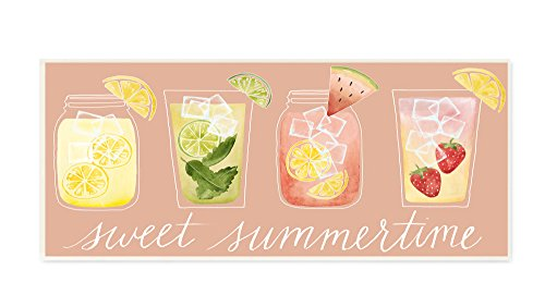 Stupell Home Décor Sweet Summertime Designer Cocktails Wall Plaque Art, 7 x 0.5 x 17, Proudly Made in (Plaque Sweet)