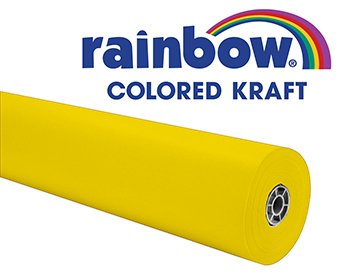 Rainbow Kraft 352994 Duo-Finish Kraft Light-Weight Paper Roll, 36 in x 100 ft,  Yellow - Colored Kraft Paper