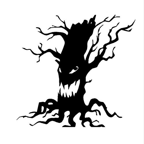 Tree Vinyl Wall Sticker Halloween Scary Tree Face Toilet Decal Home Decor 1817CM]()