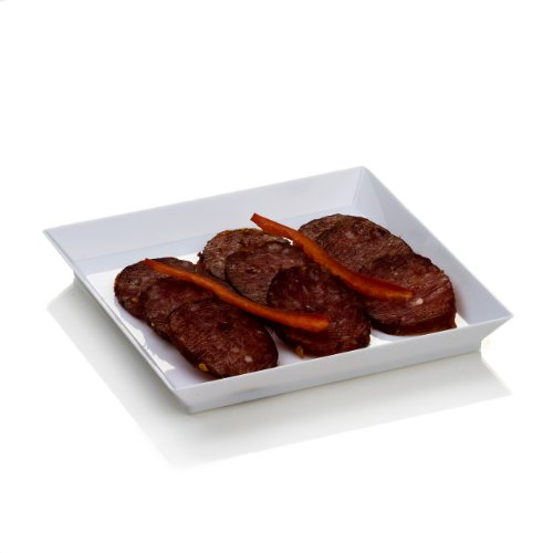 Glass Appetizer Plate - Modern Tasting Plate, Plastic Plate with Raised Sides - Great for Snacks, Side Dishes, Desserts and Appetizers - 5 Inches - White - 100ct Box - Restaurantware