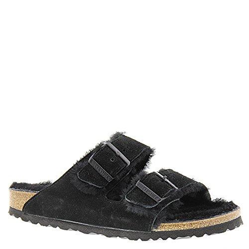 Birkenstock Unisex Arizona Shearling Sandal, Black/Black Suede, 41 N -