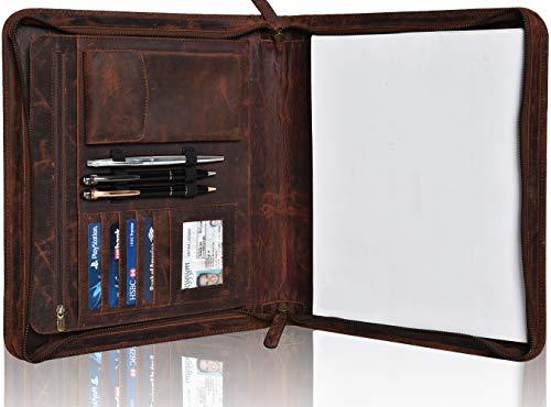 (Leather Business Padfolio Portfolio for Men - Professional Executive Zippered Binder Folder 13.5 x 11 Inches Notepad Folio School Organizer for Women (Brown Hunter))