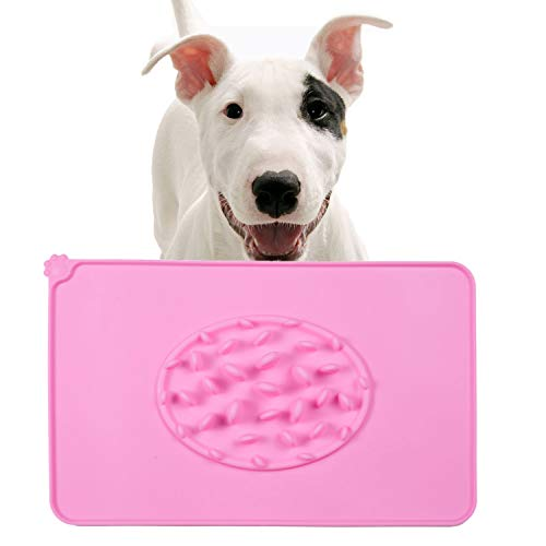 Dog Bowls Washable Pet Food Mat Slow Feed Stop Bloaping Soft Silicone Waterproof Non-Slip Durable Pet Cat Mat Pink
