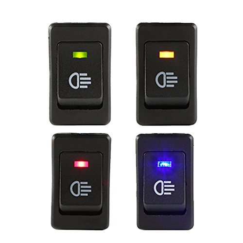 ESUPPORT Car Blue Red Green Yellow LED Fog Light Toggle Rocker Switch 4Pin 12V 35A ON OFF Bright Rear Front (Switchplate Plastic)