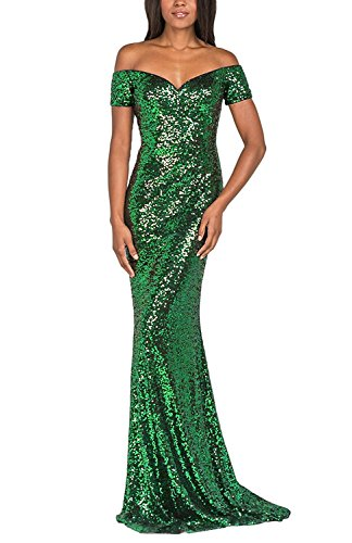 PromC Women's Sequins Long Prom Dresses 2019 Formal Evening Gown Size 14 Green -