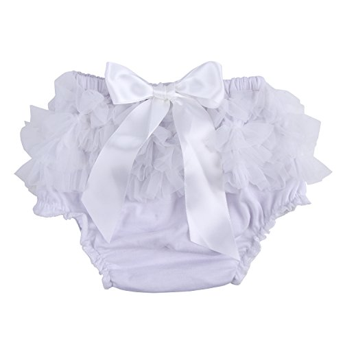 (ICObuty Baby Girls Ruffle Bloomer Diaper Cover for Baby Girls Toddlers (Small(0-6month), White))