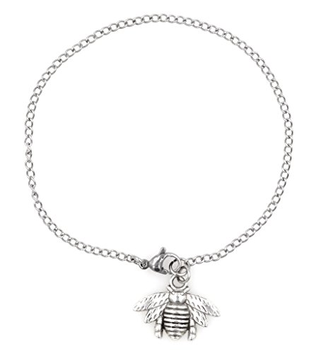 """[7.5"""" - 9.5"""" 316 Stainless Steel Bee Ankle Bracelet Anklet, 2mm Curb Chain. Packaged in an Organza Bag and Placed in a Pillow Gift] (Little Honey Bee Girls Costumes)"""