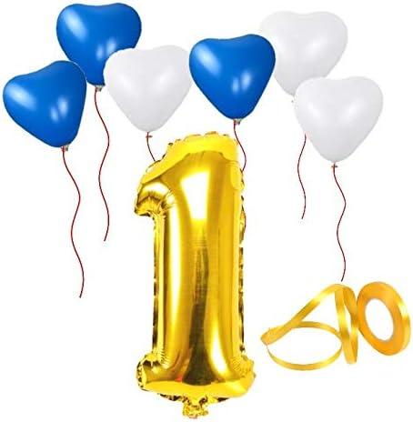 誕生日パーティー 飾り付けセット ゴールド38センチ 数字(1) 天然ゴム ハート型風船セット(bs-101)