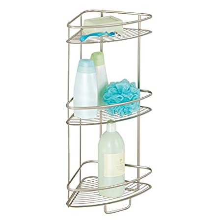 MDesign Shower Corner Shelf   Practical Corner Shower Caddy For Shampoo,  Shower Gel, Towels