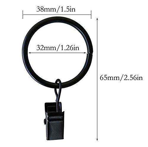 Best Starloop 36 Pack Rings Curtain Clips Strong Metal Decorative Drapery Window Curtain Ring with Clip Rustproof Vintage 1.26 Inch Interior Diameter Black