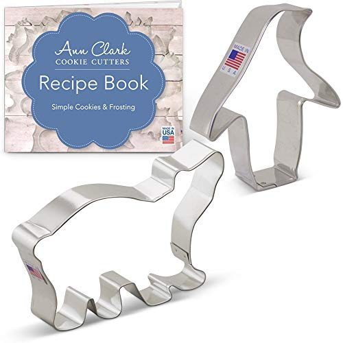 Ann Clark Winter/Christmas Animal Cookie Cutter Set with Recipe Booklet - 2 Piece - Polar Bear and Penguin - Tin Plated Steel