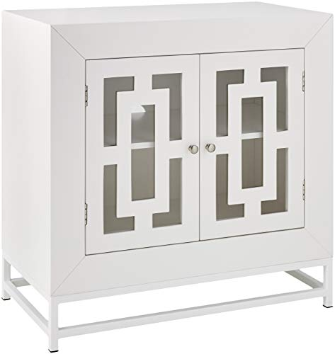 Ravenna Home Classic Glass-Doored Media Storage Cabinet, 31.5″W, White