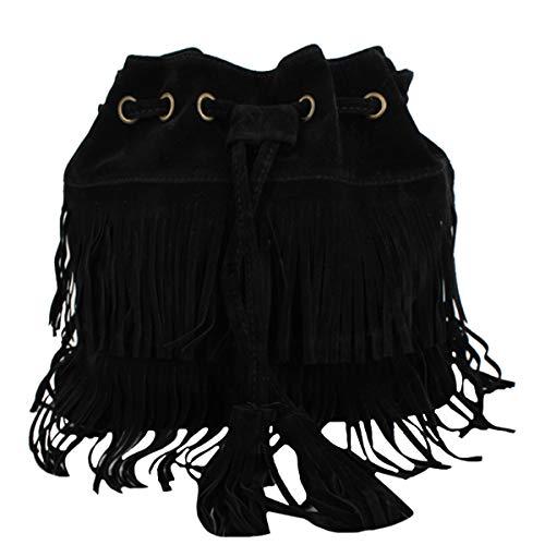 Goodbag Boutique Suede Fringe Tassel Messenger Bag Hippie Shoulder Bag Hobo Bag