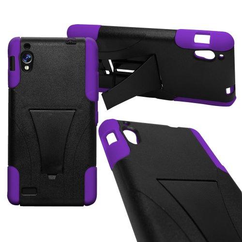 CoverON Kickstand Hard + Soft Dual Layer Hybrid Case for BLU Vivo 4.8 HD D940A - Black Hard Purple Soft Silicone -  L282-WC-BUD940A-HYS12-PU10