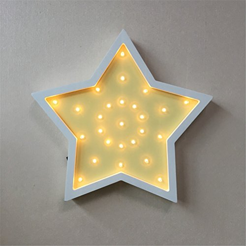 Star Wooden LED Marquee Light by LiCheng Brial,Battery Powered Wooden Decorative Table Lamps for Nursery Decor,Kid's Room,Home Decor&Gifts Yellow by LiCheng Bridal