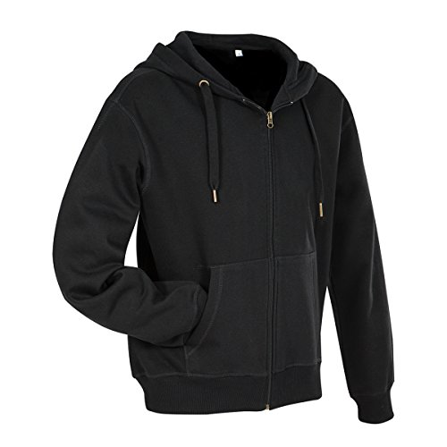 Active By Stedman Mens Sweat Jacket (XL) (Black Opal)