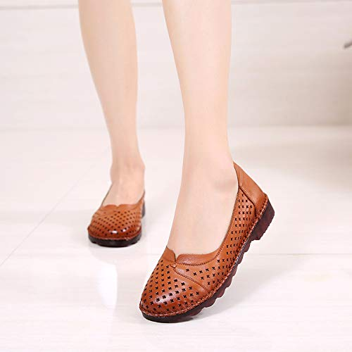 bottom comfortable pregnant Leather flat casual shoes women shoes women's shoes FLYRCX soft Brown fashion hollow shoes aEgCfq