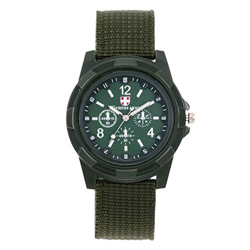 Alamana Military Men Gemius Swiss Army Sport Round Dial Quartz Nylon Band Wrist Watch - Green