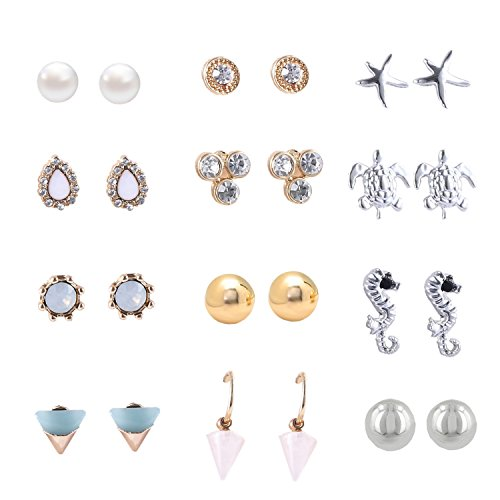 Women's Girl's Assorted Multiple Stud Earring 12 Style Sets (12 Style girls earring)