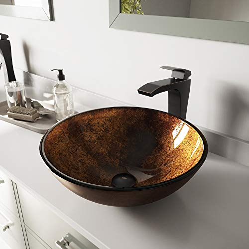 VIGO Russet Glass Vessel Bathroom Sink and Blackstonian Vessel Faucet with Pop Up, Antique Rubbed Bronze