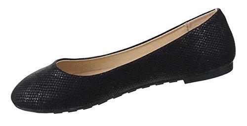 Damen-Schuhe Ballerinas   elegante Slipper mit Blockabsatz in verschiedenen Farben und Größen   Schuhcity24   Loafers in Schuppen-Optik Schwarz
