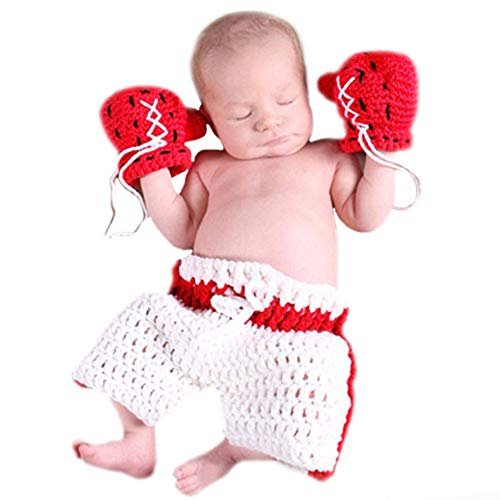 M&G House Newborn Baby Boy Photography Props Handmade Crochet Knitted Boxing Glove Shorts Outfit -