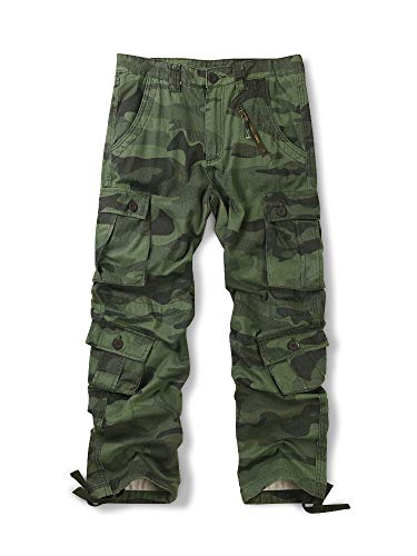 - OCHENTA Men's Cotton Military Cargo Pants, 8 Pockets Casual Work Combat Trousers #3357 Z Green 32