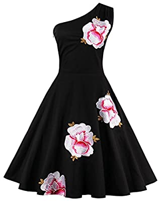 Tempt me Women Vintage 1950s Off One-Shoulder Floral Black Cocktail Party Dress Picnic Dress