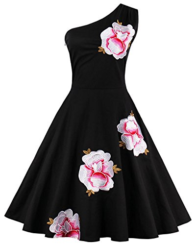 Tempt me Women Vintage 1950s Off One-Shoulder Floral Black Cocktail