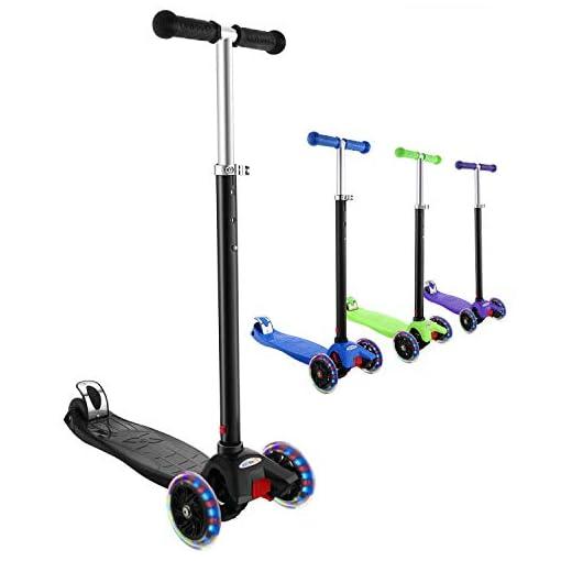 Hikole Trottinette pour Enfants avec 3 Roues Lumineuses Scooter en Portable pour 3-12 Ans, Modèle Pliable, Poignées Ajustable, Jusqu'à 110lb
