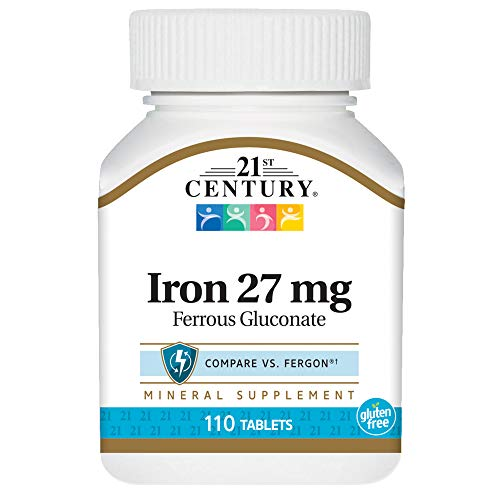 (21st Century Iron 27 Mg Ferrous Gluconate Tablets, 110Count)